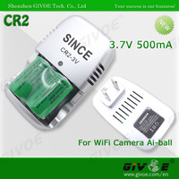Silver Rechargeable Camera Battery Charger CR2 With Input 110-240V Output 3.7V-300mA+/-50mA Together With 2PCS Li-on Battery