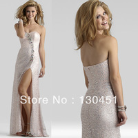 2014 new silver sequin beaded crystal sweetheart open back prom dress long ruffles sexy slit evening dresses