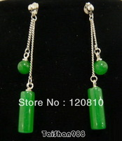 AA88 Green Jade Bead Stick Silver Dangle Earrings