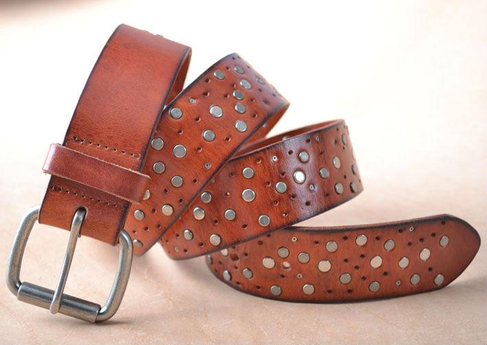 Free ship Unisex Rivet Original Leather belt ,TOP High quality Handmade leather Genuine famous men Belt YHZK206(China (Mainland))