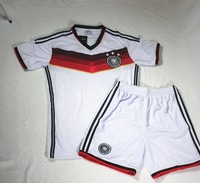 Tops + shorts 2014  World Cup Germany home Football Jersey Embroidered logo Germany white soccer Jerseys Deutsch jersey ,set