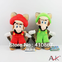 "Free Shipping New Super Mario Bros 9"" Musasabi Flying Squirrel Luigi and mario  Plush Toy Doll  2pcs"
