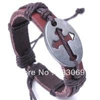 Free shopping 12pcs/lot new Europe type style, leather bracelet with the cross, alloy bracelet, interesting gift