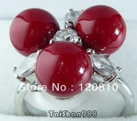 Red Coral 3 Beads 18KWGP Crystal Ring Size: 7.8.9
