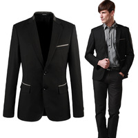 New Fashion Spring Autumn Men Casual Slim Blazer Single-Breasted Suits Black Color Top Quality
