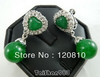 VV36ZZ88 Green Jade Silver Crystal Heart Earrings