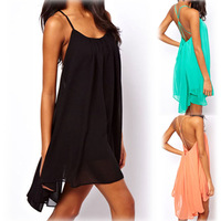New 2014 Promotions! Fashion Women Backless Sling Strap Mini Dress Sexy Sleeveless black Chiffon Ladies Party Dress Beach Dress