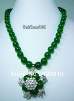 CC88EE44 Green Jade Crystal Flower Pendant Necklace