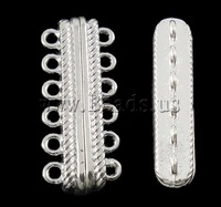Free shipping!!!Zinc Alloy Magnetic Clasp,Wholesale, Rectangle, silver color plated, 6-strand, nickel, lead & cadmium free