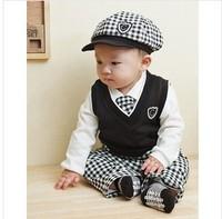 Free shipping Retail 2014 cotton Gentleman plaid long-sleeved boy suit,children spring autumn clothing set,5pcs/set 80-100cm