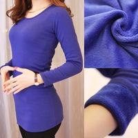 Free Shipping 2013 Autumn winter women 100% cotton medium-long paragraph long-sleeve plus velvet thickening thermal basic shirt