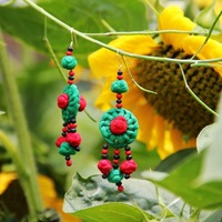 Free shipping National trend accessories unique handmade fabric earrings national earrings u