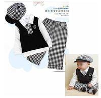Free shipping2014 cotton Gentleman plaid long-sleeved boy suit,children spring autumn clothing set,5pcs/set 80-100cm