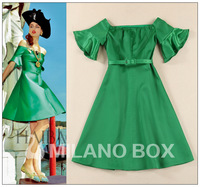 New arrival 2014 spring and summer strapless horizontal neck vintage flare sleeve slim one-piece dress with belt