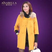Aisabella2013 winter women's solid color slim long-sleeve woolen outerwear double breasted medium-long female
