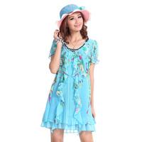 2013 summer new arrival fancy chiffon o-neck beaded ruffle plus size casual loose short-sleeve dress