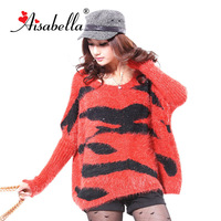 2013 autumn and winter red plus size batwing sleeve loose sweater thickening sweater female