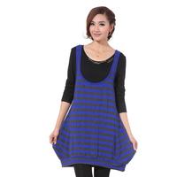 2013 autumn female medium-long t-shirt one-piece dress 100% cotton long-sleeve stripe twinset outerwear