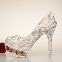 2013 fashion crystal shoes wedding shoes night dress shoes party shoes aesthetic pearl shoes women's shoes