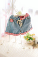 Denim shorts women's stripe patchwork hole pleated pocket color block shorts