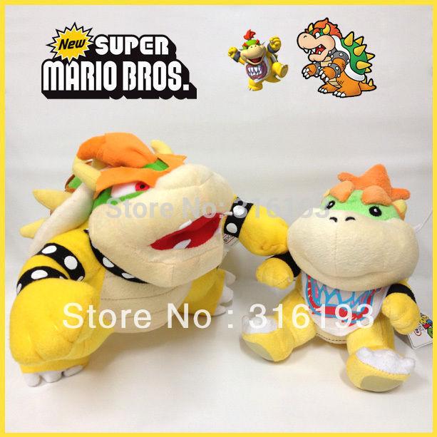 "Drop shipping 2pcs X Super Mario Bros Plush Bowser & Bowser Jr. Soft Toy Cuddly Stuffed Animal 10""(China (Mainland))"