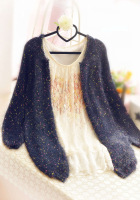 2013 autumn sweater polka dot medium-long mohair cardigan sweater outerwear female