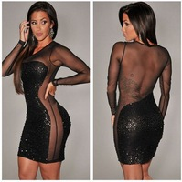 Women's fashion unique long-sleeve full-body paillette sexy dress, sexy club/party dress