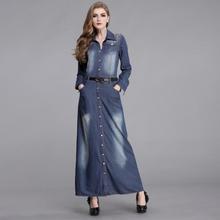 Plus sizes 2013 New Fashion Ladies' blue denim dress Slim women's casual jeans water wash long rivet dresses free shipping(China (Mainland))