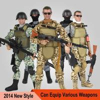 2014 NEW STYLE 1:6 scale Special Forces Soldier model doll 30 cm dynamic model(1 set toy model) + 1pcs DIY G-u-n Model