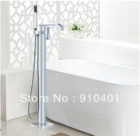 Free shipping Wholesale And Retail Promotion Bathroom Waterfall Tub Faucet Floor Mounted Standing With Hand Shower Mixer Tap
