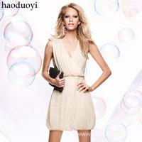 2014 New Arrival! Free Shipping! 2014 new deep v-neck shoulder flower dress vintage dress 2 color 6 size in stock