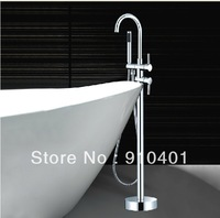 Free shipping Wholesale And Retail Promotion Chrome Brass Bathtub Faucet Floor Mounted Free Standing Tub Filler W/Hand Shower