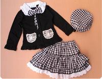 Free shipping RETAILplaid long-sleeved baby girls suits,skirt set children spring autumn clothing coat+skirt,3pcs/set 80-120