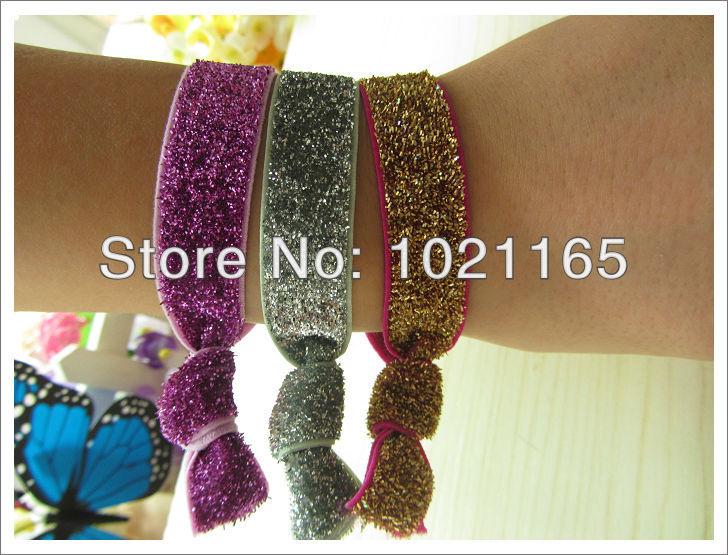 Trial order 50pcs/lot Handmade Foldover Elastic Hair Ties Bracelets FOE Glitter Velvet elastic wristbands ponytail holder(China (Mainland))