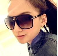 free shipping Fashion big black fashion sunglasses the box vintage sunglasses male women's star style glasses