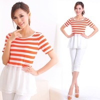 casual dress1760 Korean version of the double-layer chiffon hem stitching wide striped short-sleeved T-shirt women clothing