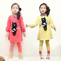 New 2014 autumn summer girl clothing set, children t shirts+girl legging,hello Cubs dress+kids pants,baby girl clothes set
