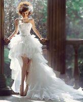 Luxurious White Front Short And Long Back Bridal Wedding Dress Custom