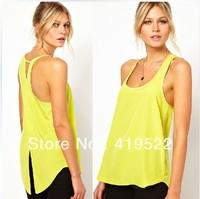 tecido de seda blusa femininas camisa 2013 fashion Back cross dovetail lemon yellow chiffon female vest chaleco