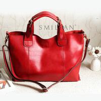 100% genuine leather high quality 2013 new arrival fashion vintage women leather handbag shoulder messenger cross body big bag