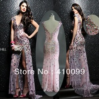 New Sale Elegant Custom Made Deep V-neck Heavy Beading Side Slit long Evening Dresses 2014