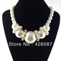Luxury elegant pearl chain statement necklace 2014 new floating charm gold plated necklaces & pendants women