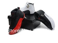 Free shipping 2013 Classic 12 white black and red colour men basketball shoes High quality XII men athletic shoes size 8-13