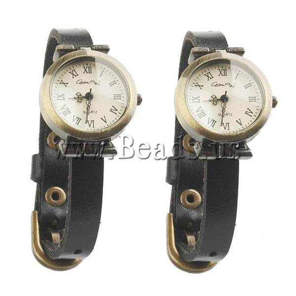 Free shipping Cowhide Watch Bracelet Korea Jewelry with zinc alloy dial antique bronze color plated black
