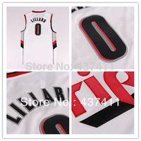 New Super Star rip city Portland #0 Damian Lillard white black jersey  Rev 30 Embroidery Lgos Basketball jersey Free Shipping