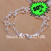 JH234 Lowest price Wholesale 925 sterling silver bracelet & bangle jewelry, new jewelry Five Line Gloss Ball Bracelet aiaa izha