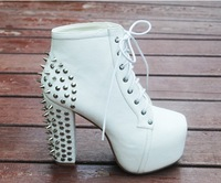 13 martin boots thick heel rivet high-heeled shoes small yards lacing 12cm ultra high heels platform boots women's shoes
