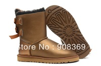 Int'l brand Genuine Metal Gold Black Bow 1002954 snow  Boots Australia suede 100% wool lining 3280 winter Rubber boot for women
