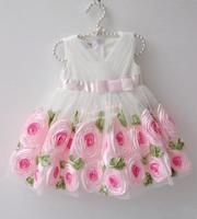 2014 new beautiful baby dress with flowers brand girl dresses kids/children dresses V collar dress free shipping