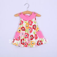 2014 Factory outlet cotton baby dress Beautiful girls flower dress children  sleeveless dress Free shipping